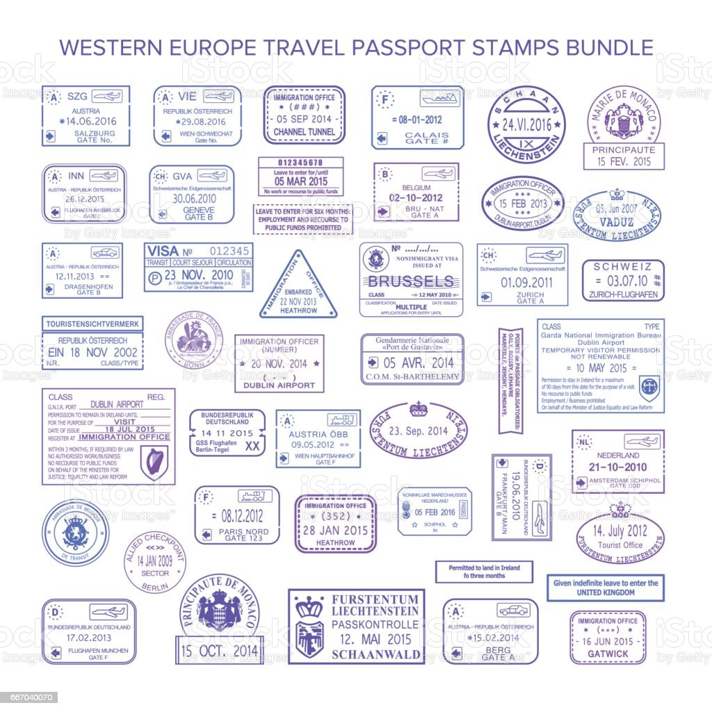 Vector western europe common travel visa stamps set vector art illustration