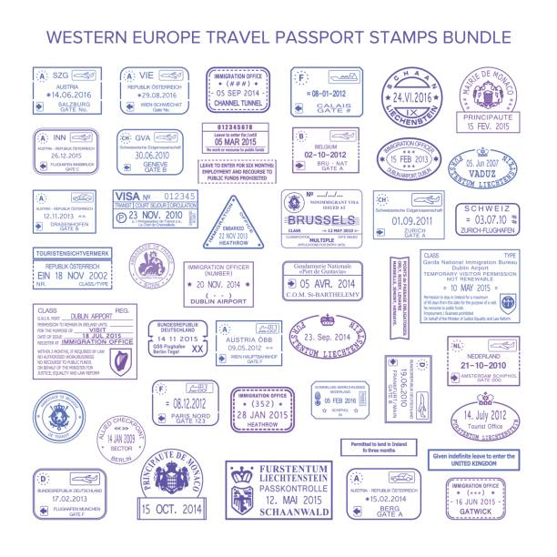illustrations, cliparts, dessins animés et icônes de set de timbres visas voyages communs de vecteur europe occidentale - passeport et visa