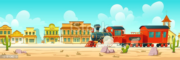 Steam train in western town. Wild west desert landscape with cactuses, railroad and old wooden buildings. Vector cartoon illustration of wild west city and vintage locomotive
