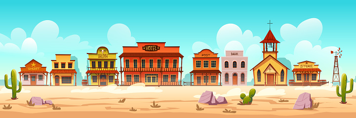 Vector western town street with wooden buildings