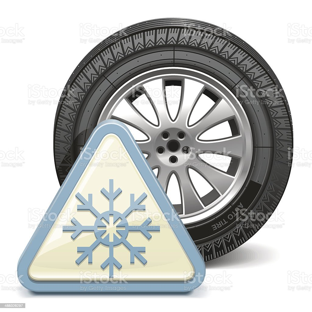 Vector Wheel with Snowflake Sign royalty-free stock vector art