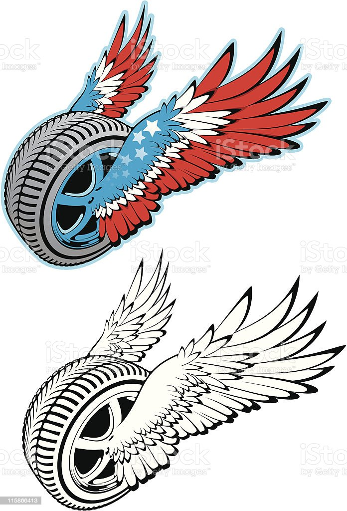 vector wheel with wings royalty-free vector wheel with wings stock vector art & more images of animal body part