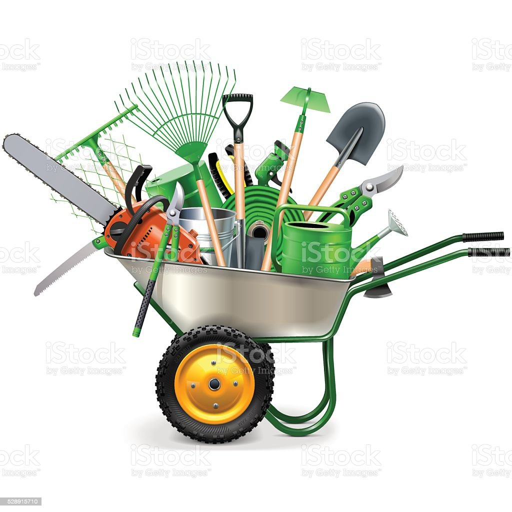 Vector Wheelbarrow with Garden Accessories vector art illustration