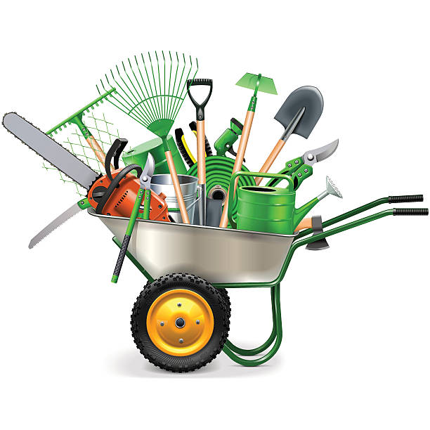 stockillustraties, clipart, cartoons en iconen met vector wheelbarrow with garden accessories - kruiwagen