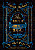 Vector whiskey label, sticker on bottle or flask of alcoholic drink. Vertical black bourbon logo with logo. Frame with ribbons, text and patterns for packaging.