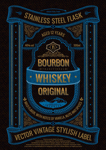 vector whiskey label, sticker on bottle or flask of alcoholic drink. vertical black bourbon logo with logo - alcohol drink borders stock illustrations