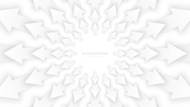 Vector White 3D Arrows Vector White 3D Arrows with Soft Shadow Radial Composition Diverging in Outward Direction Abstract Bright Conceptual Illustration spreading stock illustrations