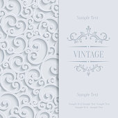 Vector White 3d Vintage Invitation Card with Floral Damask Pattern