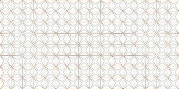 Vector white and gray wallpaper with a golden outline. Origami made of white paper