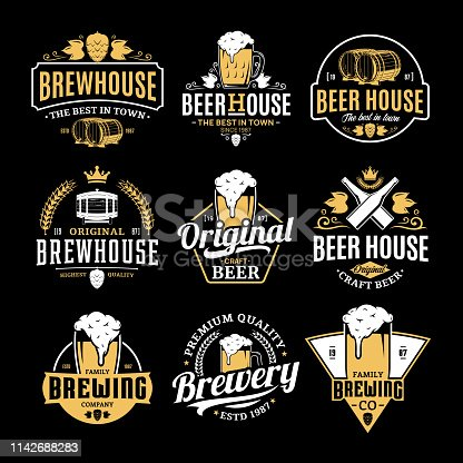 Vector white and yellow vintage beer icons isolated on black background for brew house, bar, pub, brewing company branding and identity.