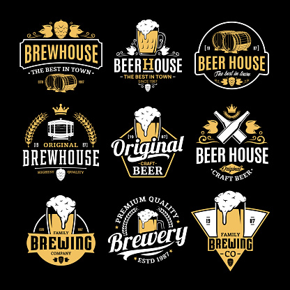Vector white and yellow vintage beer badges and icons