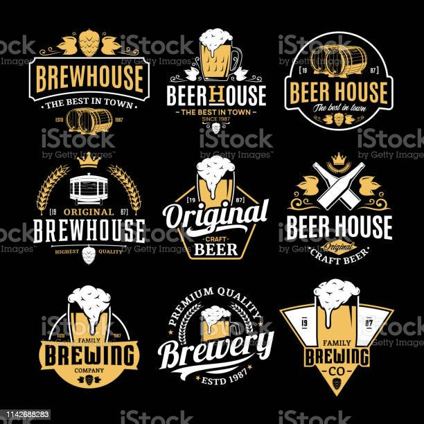 Vector white and yellow vintage beer badges and icons vector id1142688283?b=1&k=6&m=1142688283&s=612x612&h=gtfo8mqkbjkefadbd sz3l5rtve4b9lfqjktjf4ysk0=