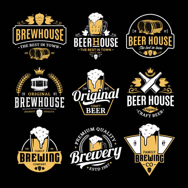 Vector white and yellow vintage beer badges and icons Vector white and yellow vintage beer icons isolated on black background for brew house, bar, pub, brewing company branding and identity. beer stock illustrations