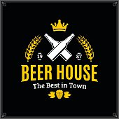 Vector white and yellow vintage beer house label isolated on black background for beer house, bar, pub, brewing company branding and identity