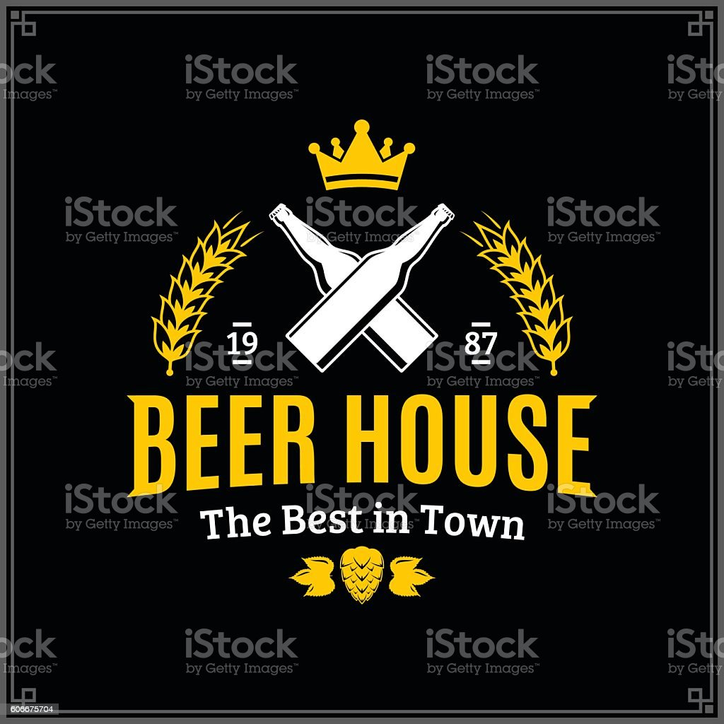 Vector white and yellow vintage beer house label vector art illustration