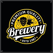Vector white and yellow vintage brewery label isolated on black background for  brewing company branding and identity