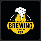 Vector white and yellow vintage brewing company label isolated on black background for beer house, bar, pub, brewing company branding and identity