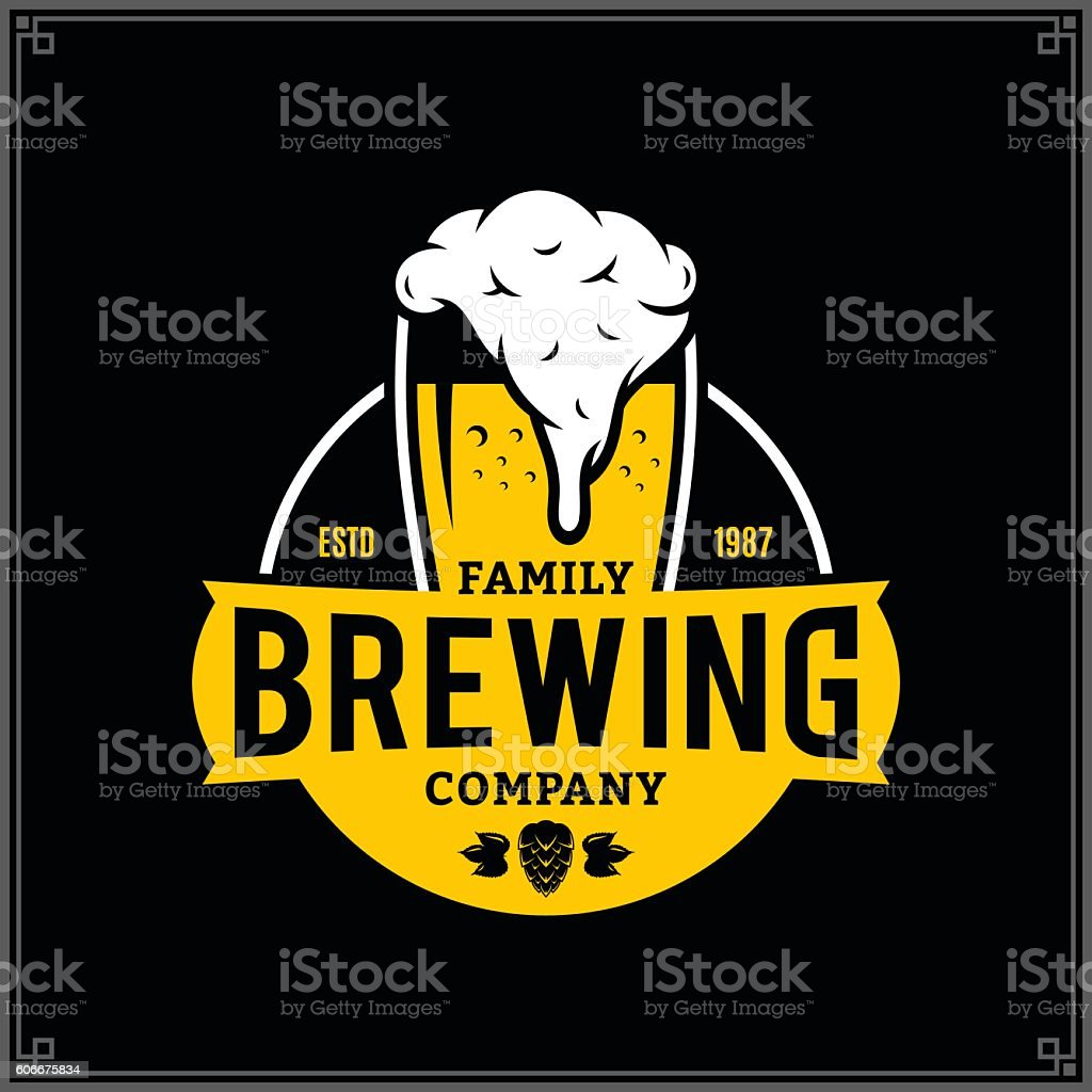 Vector white and yellow vintage brewing company label vector art illustration