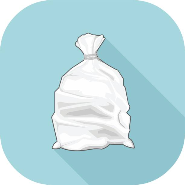 Vector white bin bag Flat Icon. vector art illustration