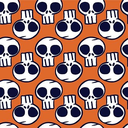 Vector white black skulls orange seamless pattern
