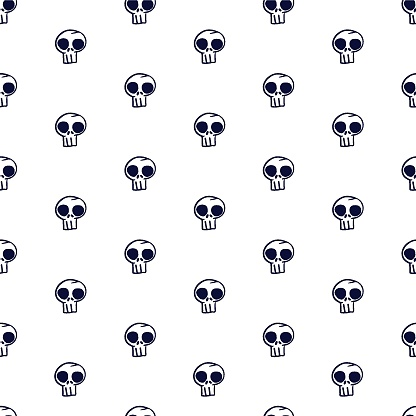 Vector white black skulls seamless pattern