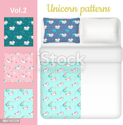Vector white blank and unicorn bed linen set