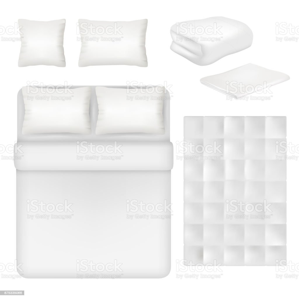 Vector white blank bedding realistic template set vector art illustration