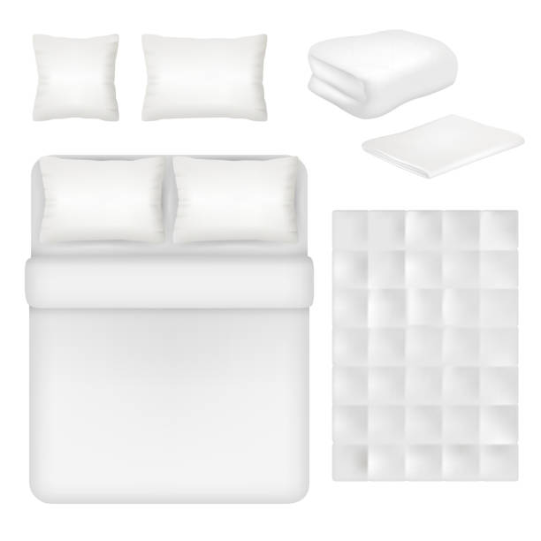 Vector white blank bedding realistic template set vector art illustration