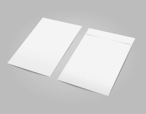 ilustrações de stock, clip art, desenhos animados e ícones de vector white blank c4 envelope with transparent background in perspective. - modelos
