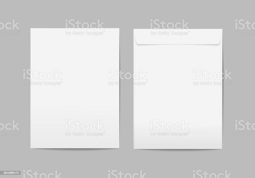 Vector white blank C4 envelope with transparent background. векторная иллюстрация