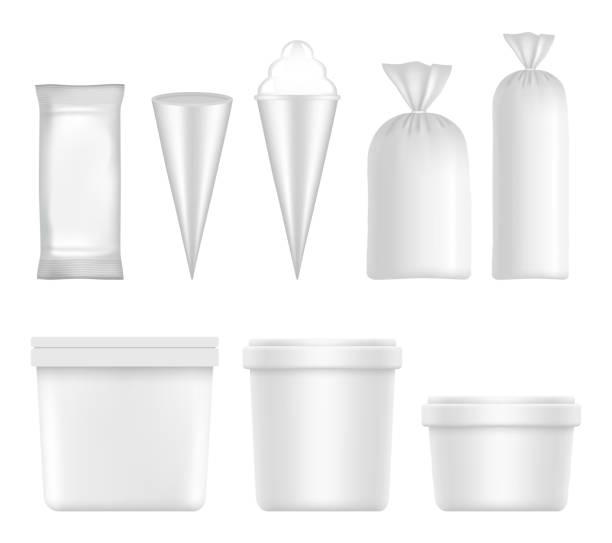 illustrazioni stock, clip art, cartoni animati e icone di tendenza di vector white blank ice cream packaging and container set - gelato confezionato