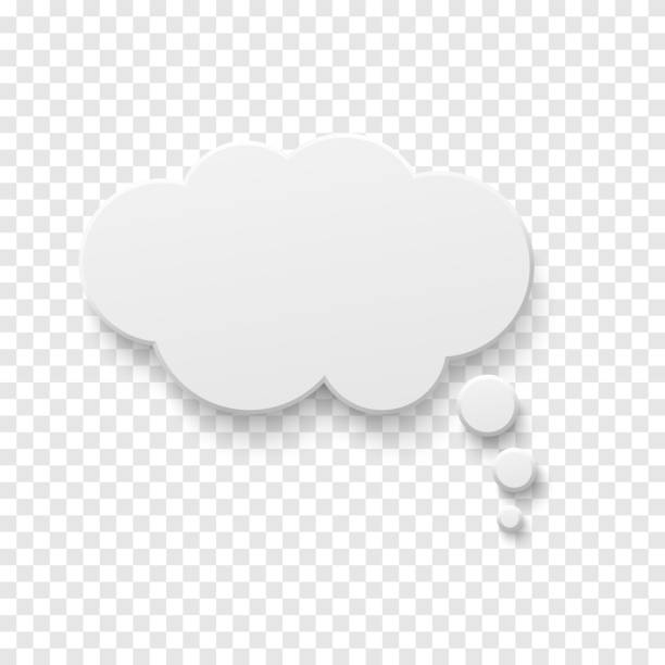 Vector white blank paper speech bubble Vector white blank paper speech bubble on transparent background. Realistic 3d illustration. Template for your design. tuinkers stock illustrations