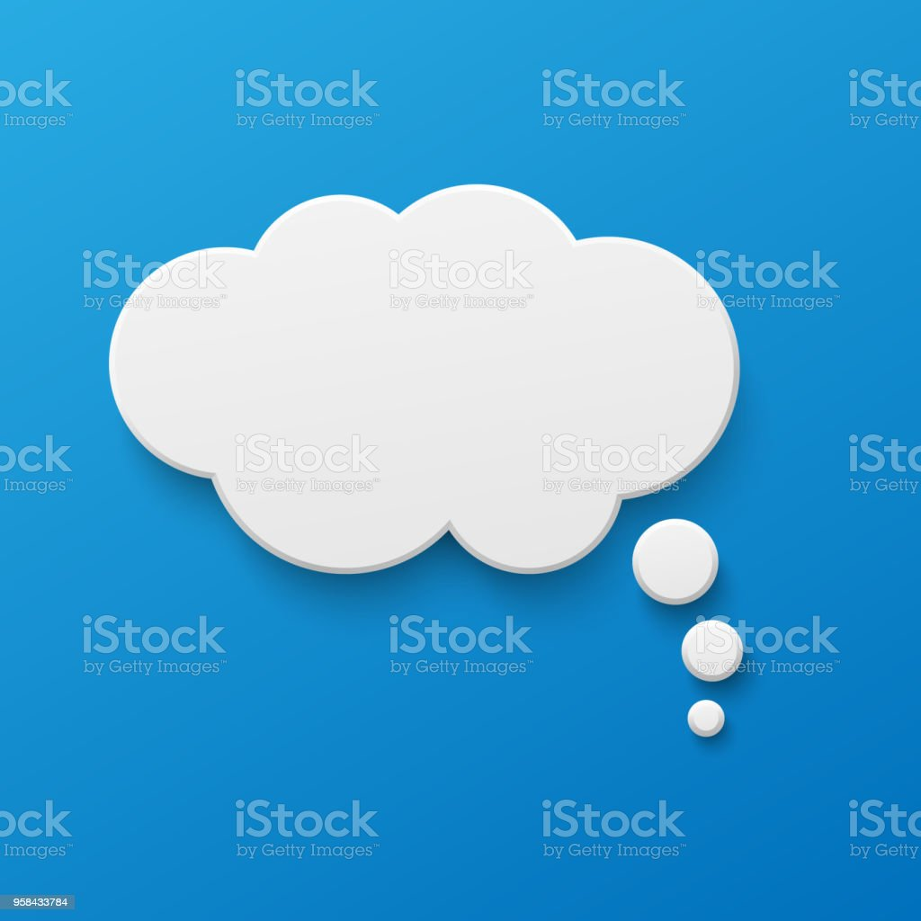 Vector white blank paper speech bubble Vector white blank paper speech bubble on blue gradient background. Realistic 3d illustration. Cloud shape. Template for your design. Abstract stock vector