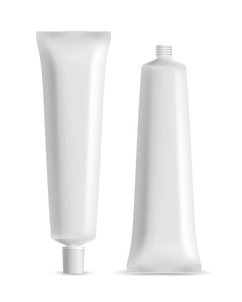 Vector white blank tooth paste or cosmetic cream container open and closed isolated on white background Vector white blank tooth paste or cosmetic cream container open and closed isolated on white background tube stock illustrations