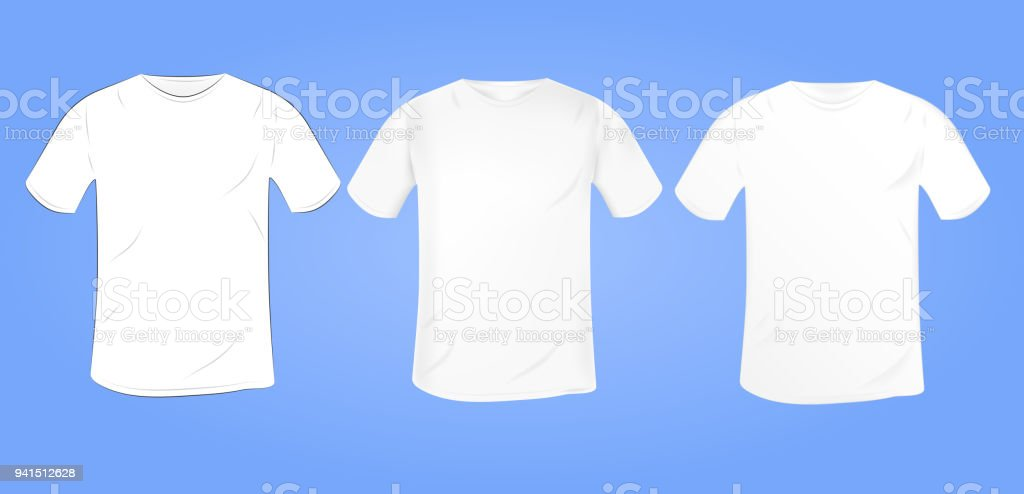 vector white blank tshirt mockup with a round collar in a different