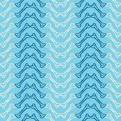 Vector white blue chevron bones seamless pattern