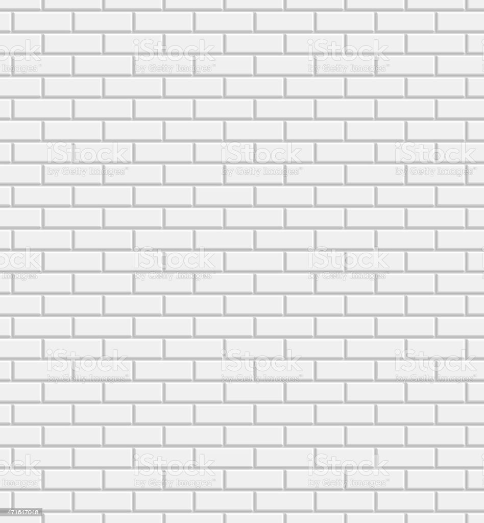 Vector white brick wall background vector art illustration