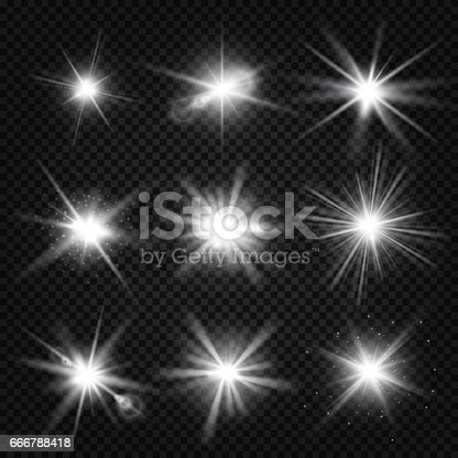 Vector white burst rays, glowing light, stars bursts with sparkles isolated on transparent background. Effect of sparkle magic glitter illustration