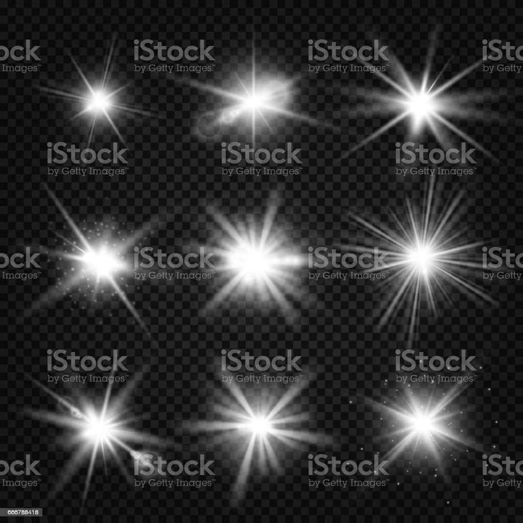 Vector white burst rays, glowing light, stars bursts with sparkles isolated on transparent background vector art illustration