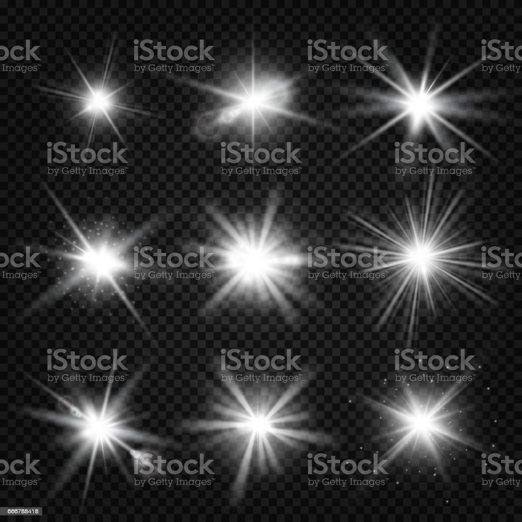 Vectores blanco estallido rayos, luz brillante, estrellas ráfagas con destellos aislados sobre fondo transparente - ilustración de arte vectorial