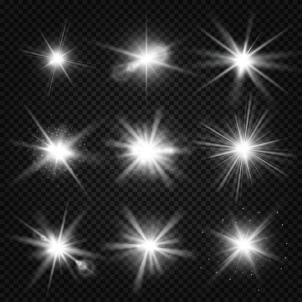 vector white burst rays, glowing light, stars bursts with sparkles isolated on transparent background - glowing stock illustrations