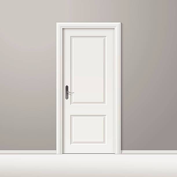 Vector White Closed Door with Frame Isolated on Background Vector White Closed Door with Frame Isolated on Background door stock illustrations