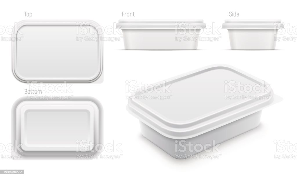 Vector white container for butter, melted cheese or margarine spread. Packaging template illustration. vector art illustration