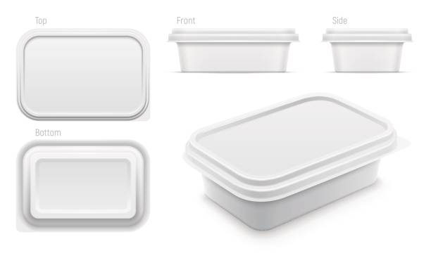 Vector white container for butter, melted cheese or margarine spread. Packaging template illustration. Vector white container for butter, melted cheese or margarine spread. Top, bottom, front, side and perspective views isolated over the white background. Packaging template illustration. container stock illustrations