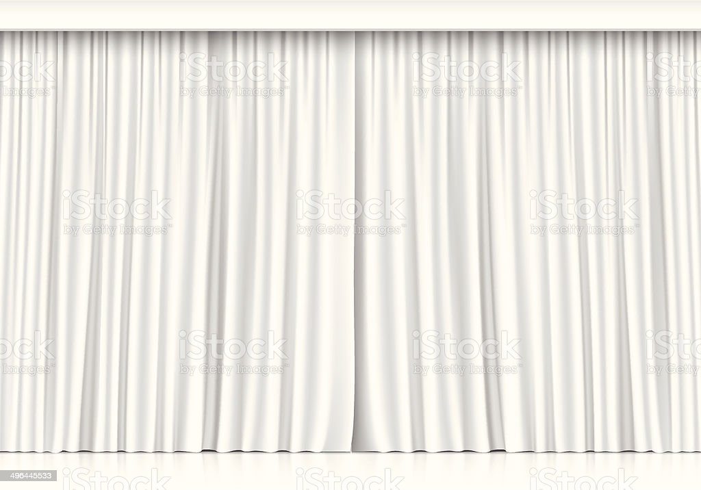 Vector White Curtains Isolated on White Background vector art illustration