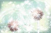 Vector White Dandelion on green background — Illustration.