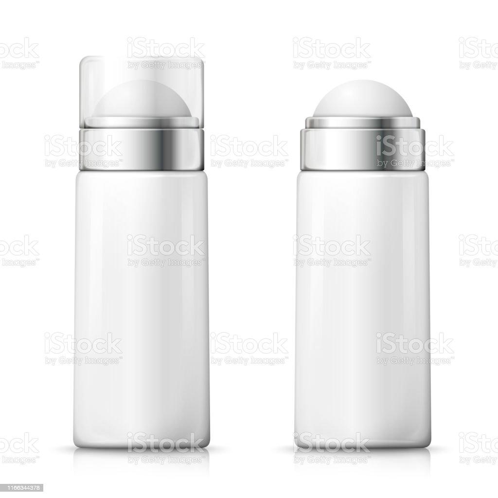 Vector White Deodorant Bottles With Plastic Cap Stock