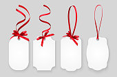 Vector white empty paper name tags, greeting cards or coupons with red shiny ribbons isolated on grey background