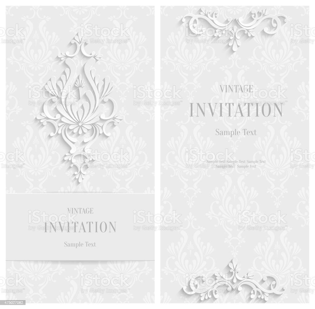 Vector White Floral 3d Background. Template Christmas or Invitation Cards vector art illustration