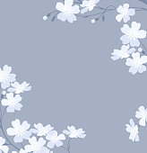 Vector illustration white flowers on a grey background. Greeting cards. Bridal floral decorations